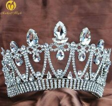 Royal Pageant Crown Tiara Clear Rhinestone Brides Wedding Hair Jewelry Costumes