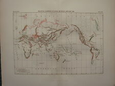 1886 ANTIQUE MAP ~  THE WORLD RELATIVE CHANGES OF LEVEL BETWEEN LAND & SEA