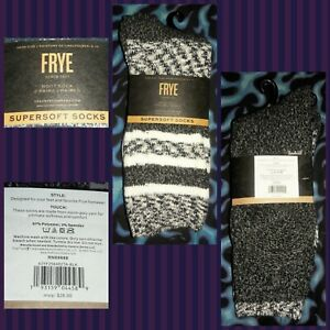 Ladies/Misses 2Prs of Frye brand Supersoft Boot Socks - Blk, White, & Gray NWT