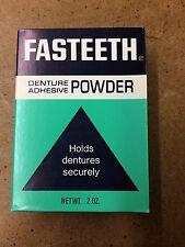 Vintage 1970's Fasteeth Denture Adhesive Powder Vick NY *New Old Stock*
