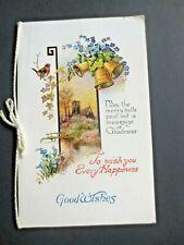 Vintage CHRISTMAS Card 1929 Robin Bird Forget Me Nots Bells Church Scene