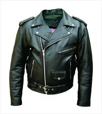 Men's Black Genuine Cowhide Solid Leather Motorcycle Biker Jacket. Sizes 38 -60