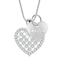 Love Heart Necklace Pendant Chain with Crystals from Swarovski Womens Jewellery