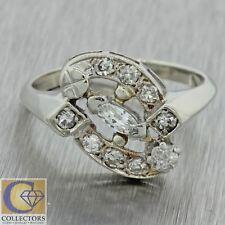 1930s Antique Art Deco Estate 14k Solid White Gold .52ctw Diamond Cluster Ring
