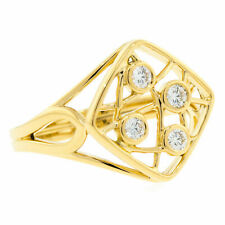 Right Hand Ring Size 6.5 0.15 Cttw Hearts on Fire Yellow Gold Brocade Square