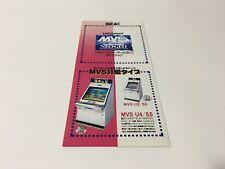SNK NEO GEO Multi Video System MVS Amusement Game Machine Line-up Flyer Pamphlet
