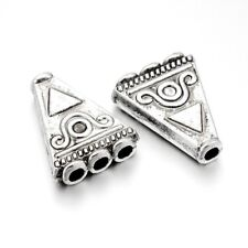 10pcs Tibetan Alloy Triangle Beads 1/3 Loop Multi-Strand Spacers Silver 24x19mm