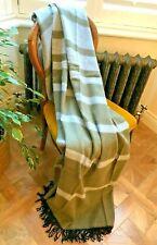 Fabulous New Alpaca Wool Fringed Throw Blanket Rug Grey and Soft Green NWT