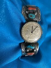 Artisan Native Navajo Sterling/Turquoise/Coral *RHY Watch Morgan 1884 Silver $1.