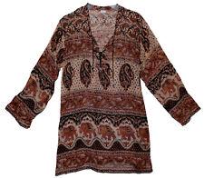 Indian Cotton Ethnic Top Blouse Boho Tunic Retro Women Gypsy Hippie Blusa HIPPY