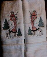 Vintage Christmas Lady Walking Terrier Dog BATHROOM SET HAND TOWELS Adorable