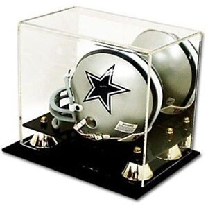 Deluxe UV Protected Mini Football Helmet Display Case w/ Mirror Back - Brand New