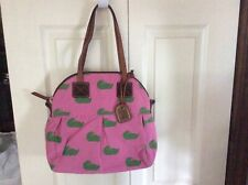 DOONEY & BOURKE Duck Pattern Canvas Handbag/Satchel ~ Pink/Green Ducks!