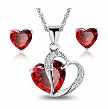 Sterling Silver Red Garnet Heart Crystal Pendant Necklace Stud Earrings Set Box