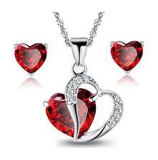 Sterling Silver Red Garnet Heart Crystal Pendant Necklace Stud Earrings Set Box