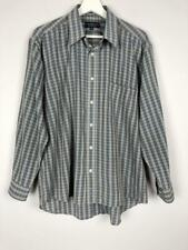 ** COUNTRY CLUB By FLETCHER JONES ** Sz M Mens Taupe Navy Check Button Shirt