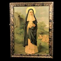 Saint Brigid of Ireland Lithograph, framed