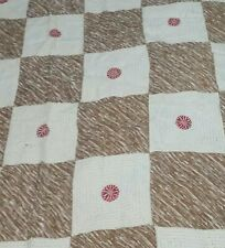 """Vintage Bangladesh quilt top red flower with sun rays design cotton100"""" x 93"""""""
