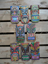 Fair Trade Hand Carved Made Wooden Dot Painted Tiki Mask Wall Art Plaque 20cm