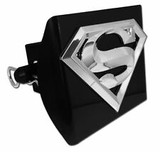 "Superman 3-D Logo Black Trailer Hitch Cover [NEW] Chrome Car Auto 2"" Receiver"