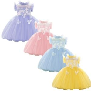 Baby Lace Princess Tutu Flower Girls Tulle Dress Wedding Birthday Bowknot Gown