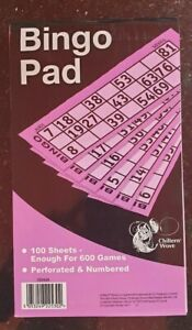 600 Bingo Game Single Ticket Card Flyer Pad Book 100 Sheet Coded tickets Party
