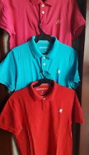 SET OF 3: AEROPOSTALE MEN'S LOGO POLO SHIRTS, Large-Red, pink and blue