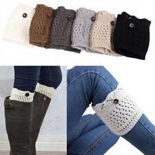 Women Lady Winter Leg Warmers Socks Button Crochet Knit Boot Socks Toppers Cuffs