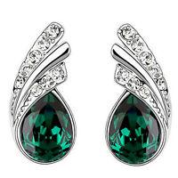 Emerald Green Crystal Angel Wings Silver Studs Earrings Rhinestones E953