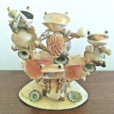 Vintage Real Shell Big Mouth Frog Band Figurines Tropical Japan Instruments