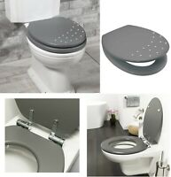 DIAMANTE WOODEN MDF GREY TOILET SEAT MODERN CHROME HINGES STANDARD SIZE EASY FIT