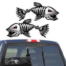 2pcs Skeleton Fish Bones Vinyl Decal Sticker Kayak Fishing Boat Car Waterproof