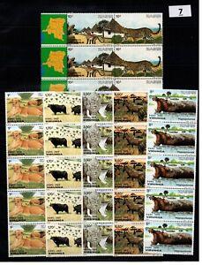 / 5X ZAIRE - MNH - NATURE - WILD ANIMALS - LIONS - ELEPHANTS - 1982