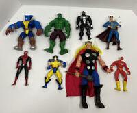 Marvel & DC Loose Figures Toys Lot of 8 90s 2000s Vintage Hulk Spider-Man