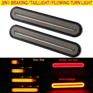 2Pcs Halo Neon LED Truck Tail Trailer Lights Flowing Turn Signal Rear Brake Stop