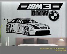 "BMW M3 GT2 M-Power Race Car Removable Wall Vinyl Decal Sticker 58"" X 22"""