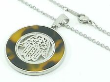 Pendant Charm Hamsa Stainless Steel Chain Link Necklace Hand Judaical CZ