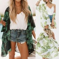Women Leaves Print Chiffon Beach Kimono Cardigan Blouse Shawl Loose Top Outwear