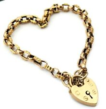 "Antique Art Deco Era 1920's 9 Karat Yellow Gold Heart Lock ""LOVE"" Bracelet."