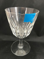 1 Baccarat Water Goblet Lorraine 4182 Cut Glass Uneven Cuts Vintage French Stem