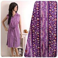 Vintage 70s Purple Stripe Cotton Drawstring Floral Tunic Mini Dress 12 14 40