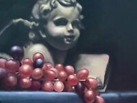 Cupid Cast And Red Grapes Original Still Life Oil Painting