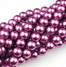 50 Berry Wine Glass Pearl Round Beads 8MM LIMITED
