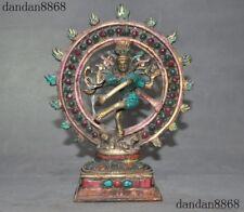Tibet bronzeInlay Turquoise coral Gem Vajrayogini Dakini Goddess Buddha statue