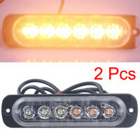 2 Pcs Amber 6 LED Car Emergency Beacon Warning Hazard Flash Strobe Light Lamp