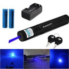 900Miles 405nm Blue Purple Laser Pointer Pen Visible Beam Light Lazer+18650+Char