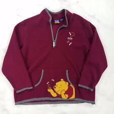 Disney Winnie the Pooh Maroon Red Burgundy Fleece Jacket, Womens XL