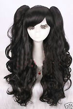 Gothic lolita black full wig curly wave long cosplay wig with ponytails