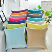 "16"" Velvet Cushion Cover Plain Soft Throw Pillowcase Home Sofa Decorative"