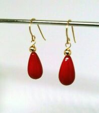 14k solid yellow gold red coral teardrop dangle earrings